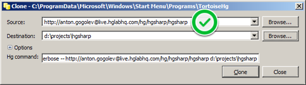 Cloning Repository in HgLab using TortoiseHg
